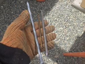 8 inch galvanized spikes and six inch plank nails. Good thing is my roof ain't moving.