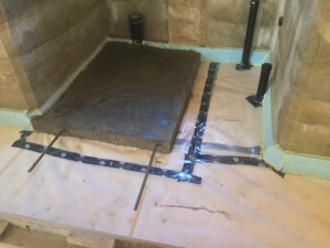 Office bathroom poured in section to allow for future development of shower drainage.